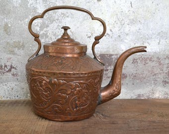Old copper teapot, old teapot, old italian copper, copper kettle, tea pot, pot, vintage copper kitchenware, ornate teapot, repousse copper