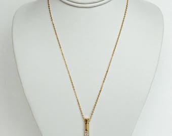 47x5mm Cylinder Pendant with Gold Plate and Crystal