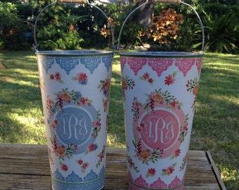Monogram French Galvanized Metal Flower Bucket, Custom Floral Vase, Farmhouse Cottage Chic Bridal Shower, Baby Shower or Wedding Decor
