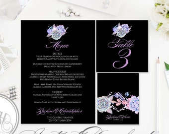 Lilac Purple Black Mint Menu, Table Number, Place Card Templates-INSTANT DOWNLOAD-DIY Editable Text-Purple Mint Succulents-Alice in black