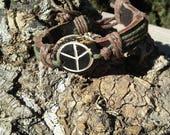 Men's Leather Peace Symbol Bracelet/Leather Bracelet/Peace Bracelet/Unisex Bracelet/ Unisex Peace Bracelet