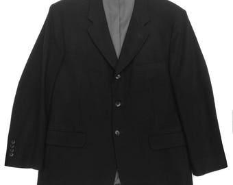 Black Cashmere 3 Button Blazer Luxurious Elegant Warm  42S