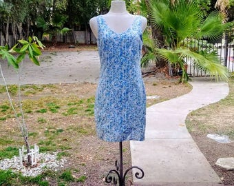 Vintage 90s Blue Floral Sundress Mini ~ Eyelet Cotton ~ Mint Condition ~ David Wayne/Made in USA ~ Size 6