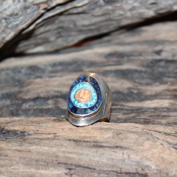 Large Vintage Sterling Silver Turquoise Ring Navajo Native American Ring 10.3 Grams Size 5 Sterling Silver Turquoise Coral Lapis Inlay Ring