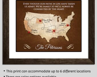 Long Distance Parents Gift Mom and Dad Gift Parents Christmas Gift Family Long Distance Gift - Family Map Gift - Personalized Map