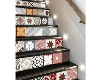 "Stair Riser Stickers - Removable Stair Riser Tile Decals - Patchwork Mix Pack of 6 in Rose - Peel & Stick Stair Riser Deco Strips - 48"" long"