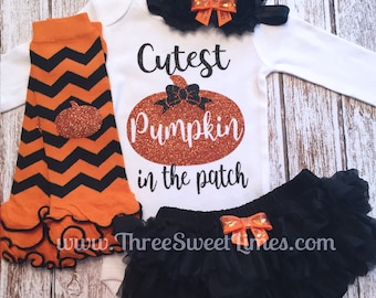 Baby Girl Halloween Outfit Cutest Pumpkin in the Patch Personalized | Opt Leg Warmers Headband Tutu Bloomers Orange Black Chevron Glitter
