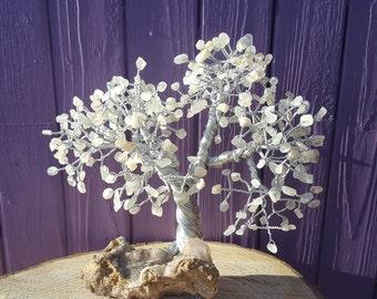 Moonstone Gem Tree, Apophyllite Cluster, Spiritual Decor, Wrapped Wire, Pagan Altar, Tree of Life, Gemstone Decoration, Crystal Healing