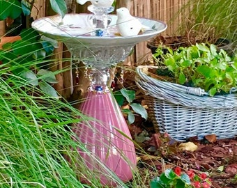 "GARDEN SCULPTURE, ""Victorian Sweethearts"" Bird Feeder, Garden Totem, Garden Art, Garden Decor, Yard Art"