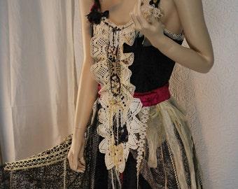 "Wonderful ""Donya"" dress, black lace, Romantic feminine, Boho dress, Art to wear, Unique"