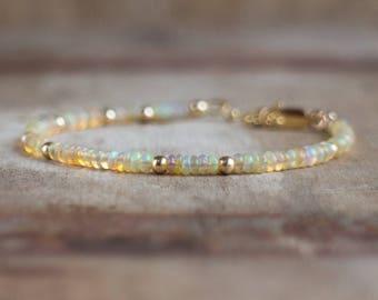 Opal Bracelet in Silver, Gold or Rose Gold, October Birthstone Bracelet, Ethiopian Welo Opal Jewelry, Opal Birthstone, Christmas Gift