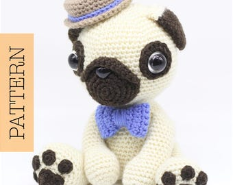 Crochet Amigurumi Pug Dog PATTERN ONLY, Pugster, pdf Stuffed Animal Toy Pattern