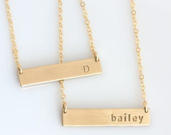 Nameplate Necklace /Gold Bar Necklace/ Layering Necklace /Gold Initial Necklace/Personalized Jewelry/Minimalist Necklace/14k Gold Fill/N279