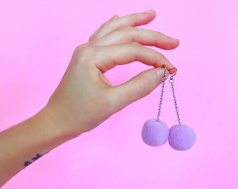 Pastel Pom Pom Dangle Earrings / Hypoallergenic Nickel Free Earrings