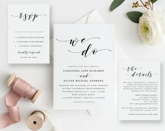 We Do Wedding Invitation Template Suite - Printable Black and White Calligraphy Wedding Invitation - EDIT in WORD - Cassandra