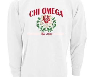 Sorority Sweatshirt, Chi Omega Sweatshirt, Imprinted Sweatshirt, Not Vinyl, Sorority Crest Sweatshirt, Sorority Gift, Big Little Gift