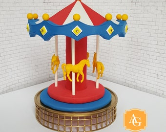 Carousel cake topper / centerpiece - blue, white, yellow, gold