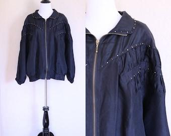 Track Jacket 80s Bomber Jacket Black Windbreaker Dolman Sleeves Batwing Sleeves 80s Windbreaker Bomber 80s Zip Up Jacket Gold Beaded Jacket
