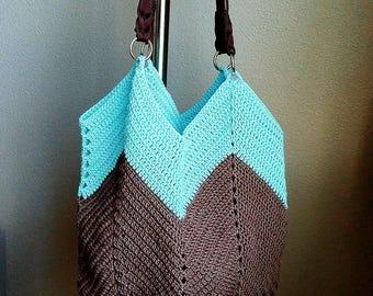 Crochet shoulder bag, beach bag, brown blue bag