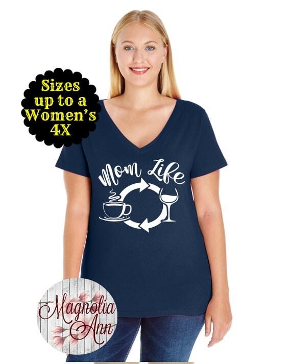 Mom Life Coffee Wine Repeat Women's V-Neck Shirt, Mom Shirt, Mom Life Shirt, Mom T-shirt, Mama Shirt, Plus Size Mom Shirt, Mom Wine Shirt