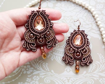 Chandelier earrings Brown earrings Soutache earrings Statement earrings Big beaded earrings Luxury festive earrings Unique soutache jewelry