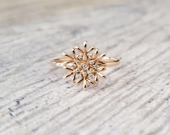 Adorable 14kt Rose Gold Snowflake Diamond Ring 0.06 ctw