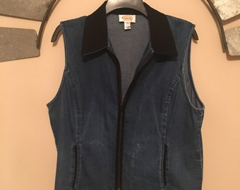 Vintage Denim Vest Hip Contrast Collar Zip Up