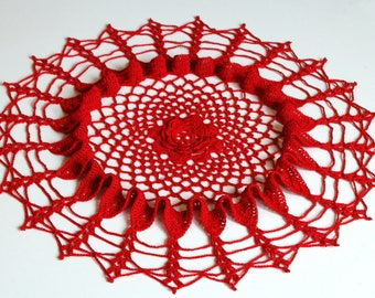 Crocheted Doily Red Doily Round Doily Home Decor Sunny Decor Table Decor Room Decor Lace Doily Table Centerpiece Crochet Decor Table Topper