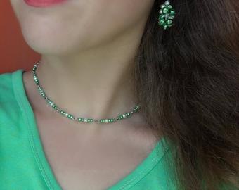 Green Beaded Choker women gift ideas Crystal Beaded Chokers sparkly beaded choker green necklace cluster earrings bead earrings unique gifts