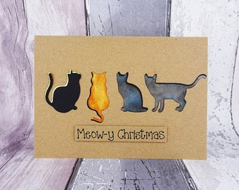Four cat Christmas card, Black cat, Blue grey, Ginger cat, Tortoiseshell cat, Calico cat, Custom birthday card, Personalised pun card