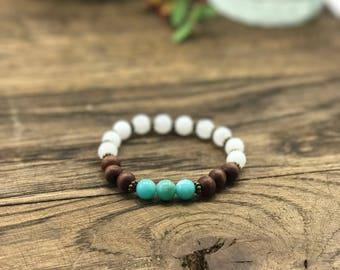 Turquoise Boho Beaded Bracelet, Turquoise, Moonstone, and Wood Bead Bracelet, Imitation Moonstone, Turquoise, All Natural Wooden Beads