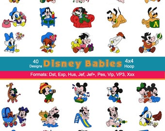 40 Disney Babies Mickey Minnie and Friends Machine Embroidery Designs