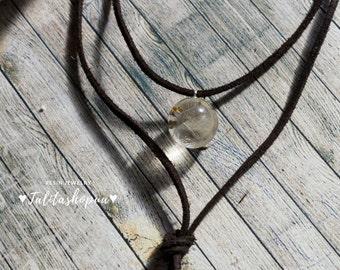 Layered dandelion ball resin choker - Boho choker - Dainty choker - Suede choker - Black/Brown/White choker - Choker necklace