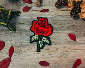 rose patch-iron on patch -flower patch-embroidered patch-patch for jacket -diy-applique