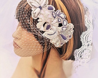 Mauve Wedding Hair Comb / Bridal Hairpiece with Crystals / Floral Wedding Hair Comb / Wedding Headband with Birdcage Veil / Purple Wedding