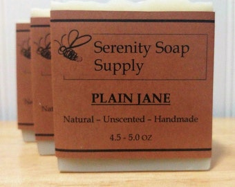 Plain Jane Soap - Natural Soap - Facial Soap - Unscented Soap - Cold Process Soap - Vegan - Artisan - 4 Oz Bar
