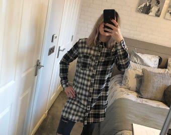 Black checked oversized shirt/dress