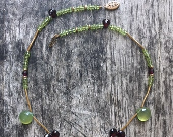 14K Goldfill Peridot, Garnet and Green Chalcedony necklace