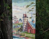 Vintage Paint by Number Farm Barn House Silo Americana Craftint Mid Century 1958 PBN Unframed Painting 1950s