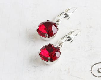 Dark Red Round Rhinestone Dangle Earrings on Silver Plated Hooks (Vintage Glass)