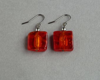 Red Fused Glass Earrings - Square Red Earrings - Red Drop Earrings - Dangly Red Earrings - Lampwork Glass Jewellery