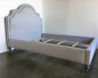 Custom Upholstered Bed W/Curved Headboard- COM