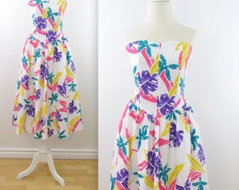 1980s Colour Pop Palm Print Strapless Dress - Vintage 80s Circle Skirt Cotton Summer Dress in Small