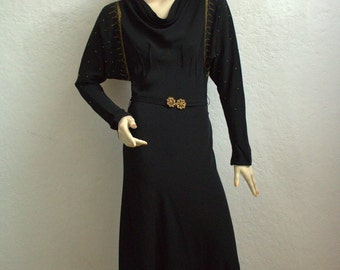 1930's Art Deco Black Crepe Evening Dress With Gold Detail and Matching Belt and Buckle - Size: XS or S
