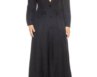 Black Button Front Wide Leg Jumpsuit Size: 8
