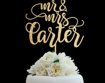 Customized Wedding Cake Topper, Personalized Cake Topper for Wedding, Custom Personalized Wedding Cake Topper, Last Name Cake Topper # 04