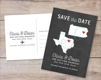 State Save The Date, States Save The Date, Save The Dates, Custom Save The Date Card, Destination Wedding, Chalkboard Map Save The Date