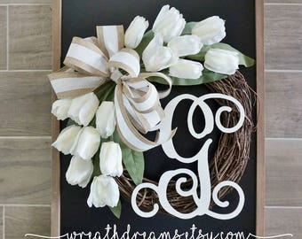 "18""-32"" Tulip Wreath. Year Round Wreath. Spring Wreath. Summer Wreath. Door Wreath. Grapevine Wreath."