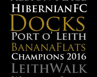 Leith, Hibernian FC, Word Art Print, Scotland, Giclée, Print, Popular, Contemporary, Word Art, Home Decor, Wall Decor, Gift, Football