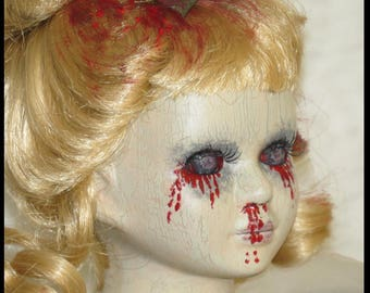 Victorian Horror Doll Gothic Horror Doll Zombie Bleeding Doll Halloween Horror Doll hand painted by SweetDarknessDesigns